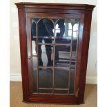 Antique Furniture Glazed Dark Wood Corner Cupboard
