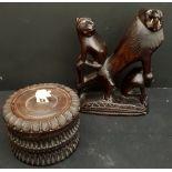 Vintage 2 x Carved Wood African Sculptures