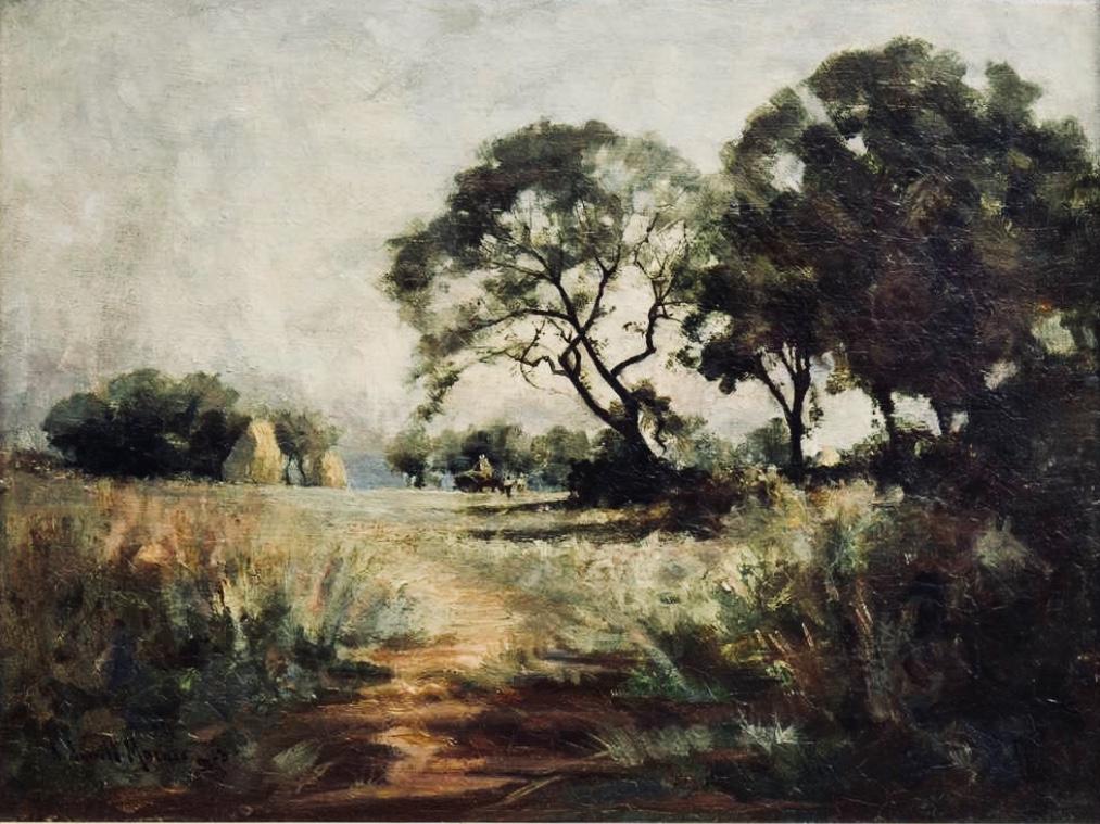 Lot 3 - Robert Russell Macnee (Scottish 1880 - 1952). Harvest Scene. Signed Oil Painting