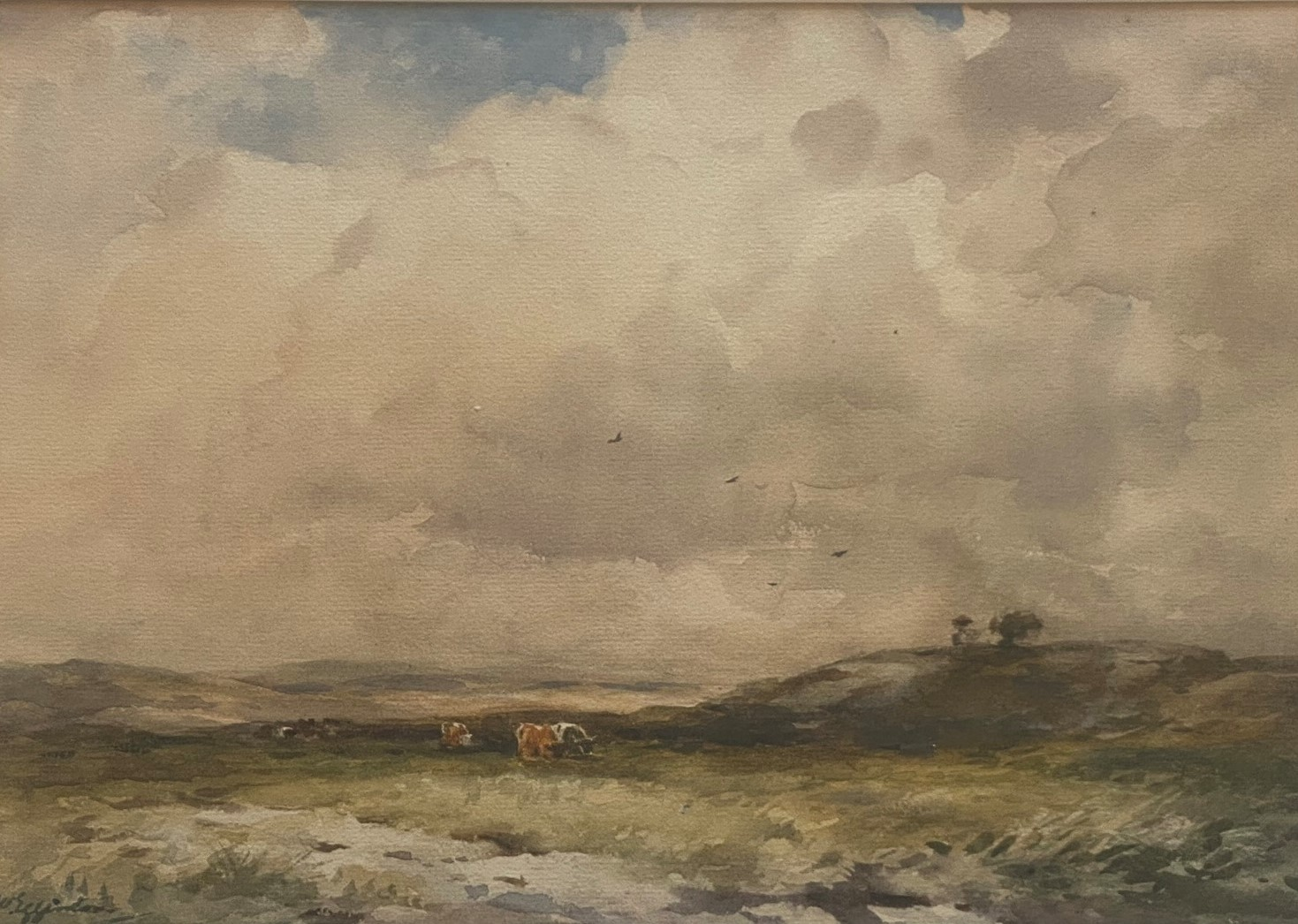 Lot 50 - Original Signed Watercolour. Wycliffe Eggington, 1875-1951 - Grazing On The Moor