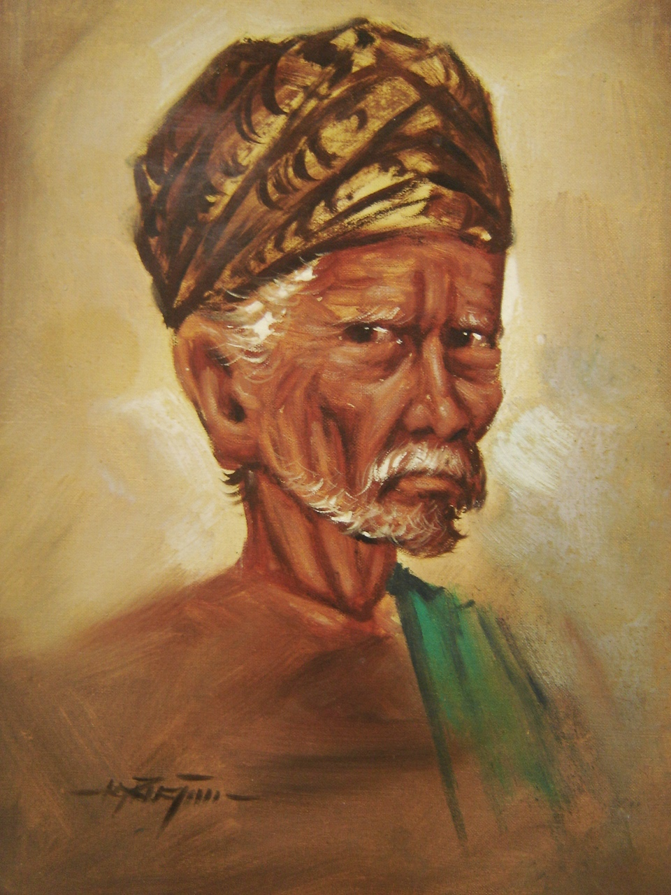 Lot 26 - Indonesian Tribal Chief. Oil On Board