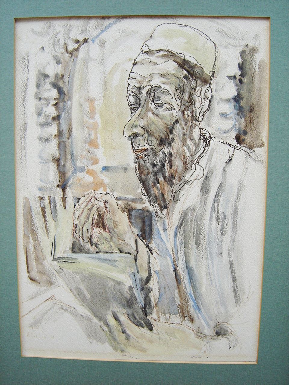 Lot 22 - Israeli Rabbi Portrait Watercolour Signed Elichai