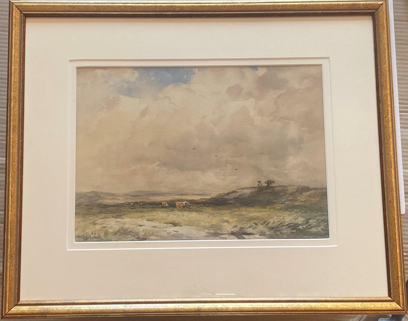 Lot 50 - Original Signed Watercolour. Wycliffe Eggington, 1875-1951 - Grazing On The Moor