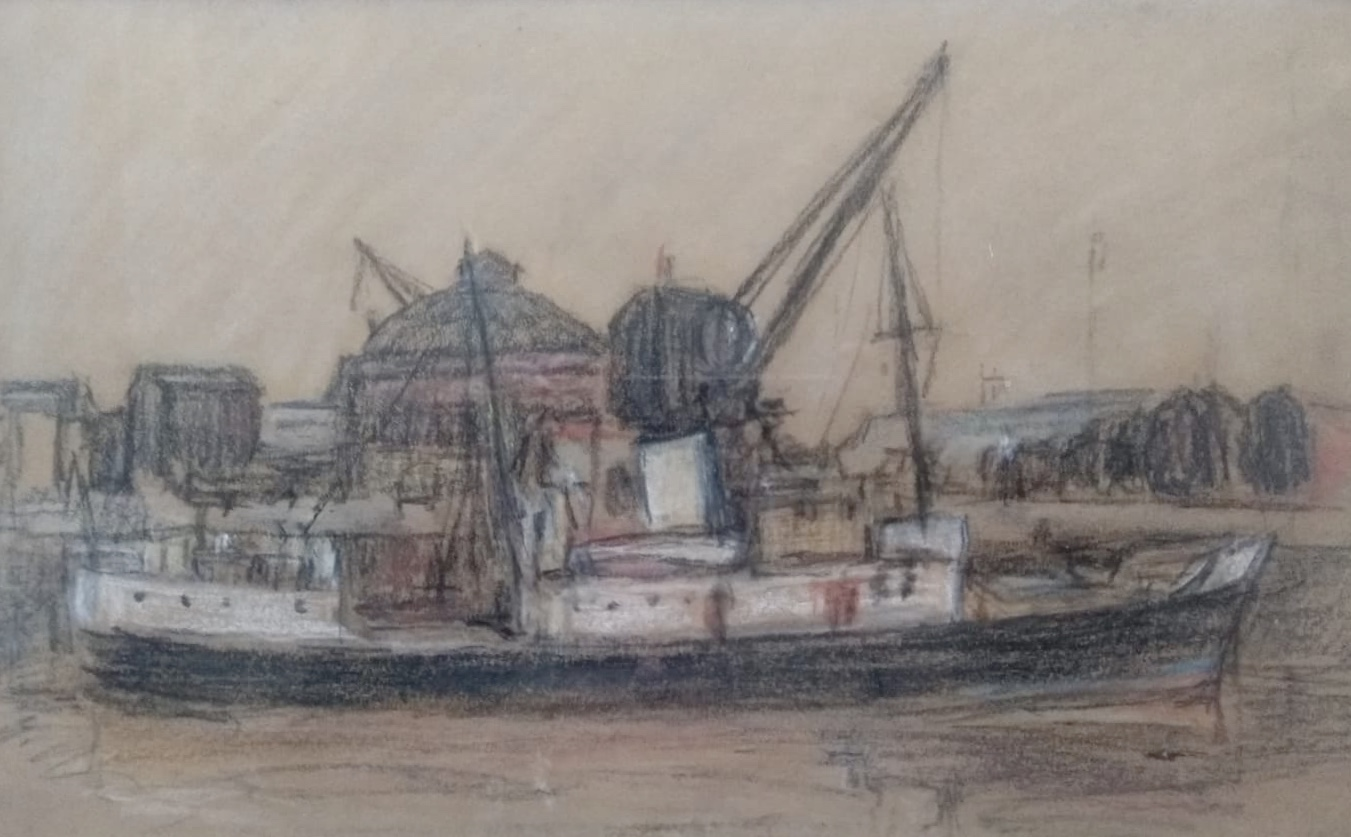 Lot 17 - William Timmons. Steamer on the Clyde. Pastel On Paper