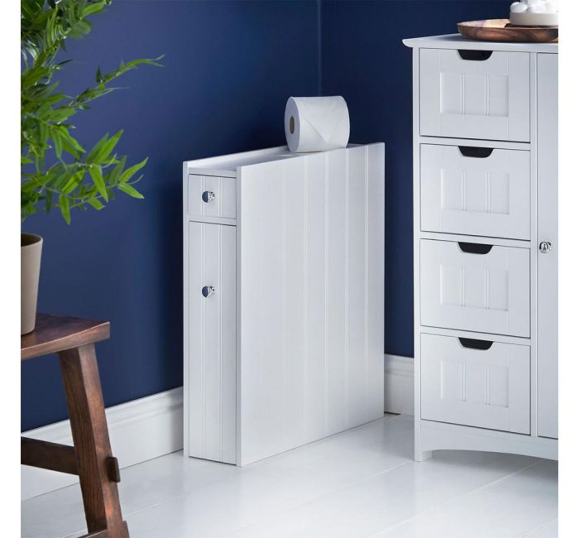 Lot 809 - (QP154) Colonial Slimline Storage Unit MDF with chrome handles Water resistant & easy to(QP154)