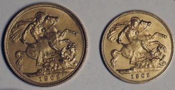 UK 1902 Edward VII Gold Matt Proof Sovereign and Half Sovereign