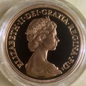 1980 Gold Proof Quintuple Sovereign £5 Coin