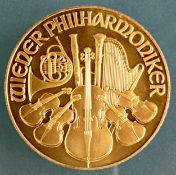1995 1 oz 24k Gold Austrian Philharmonic Coin