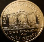 2010 1oz Austrian Vienna Philharmonic Silver Coin 999 Bullion