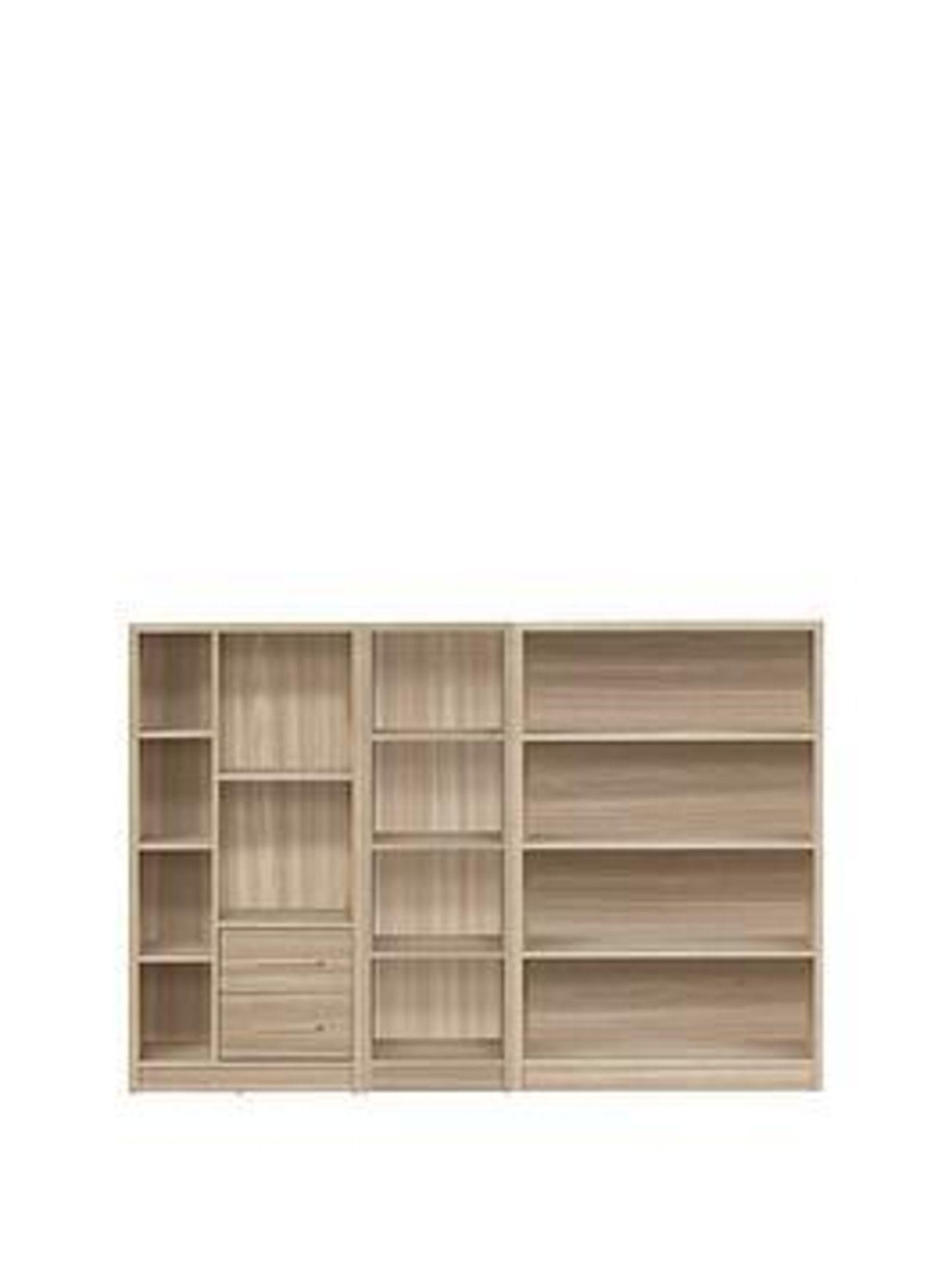 Lot 50 - Boxed Item Metro 3 Piece Bookcase [Oak] 121X79X30Cm rrp, £226.0