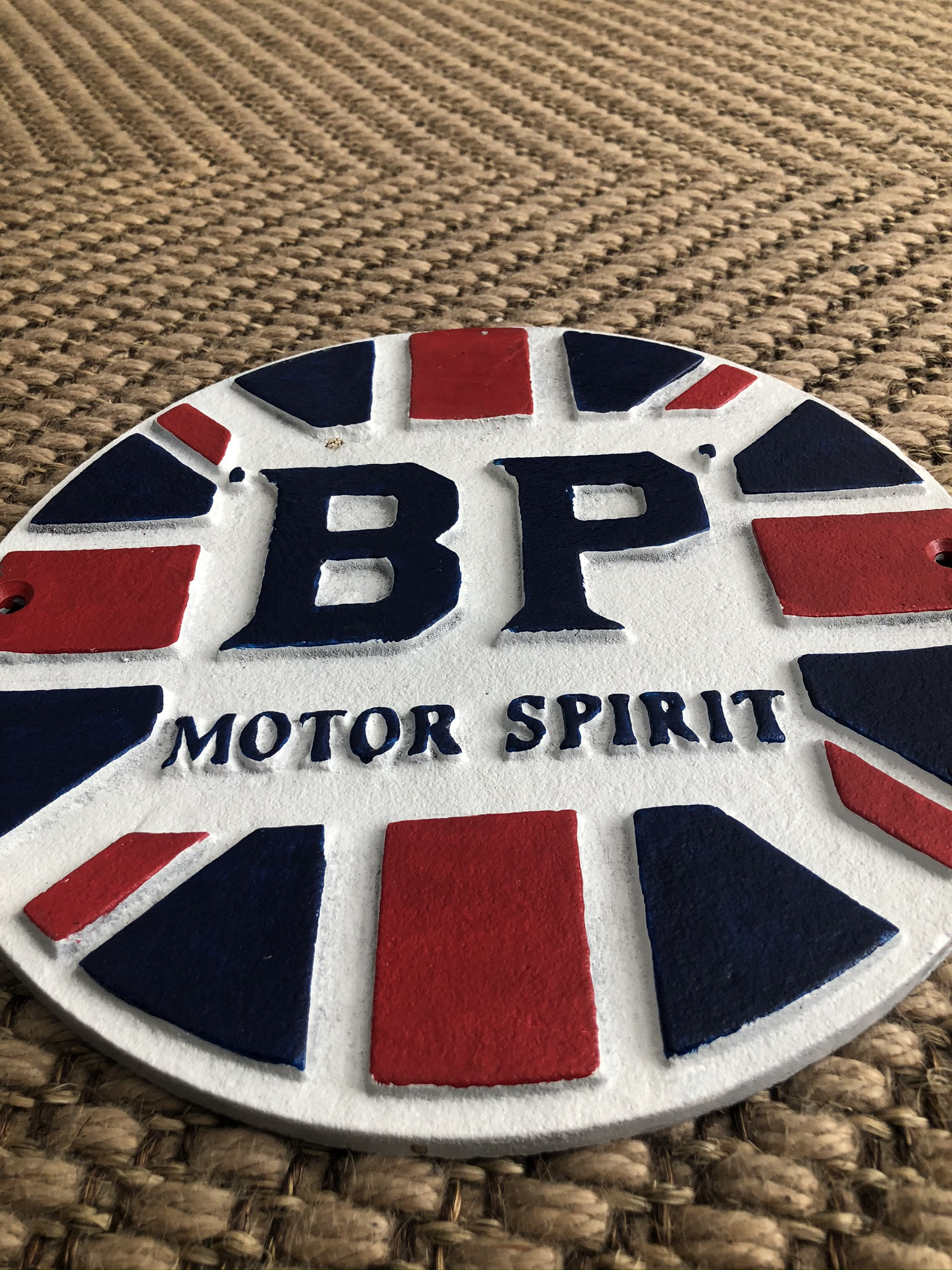 Lot 58 - Cast Iron BP Motor Spirit Wall Plaque