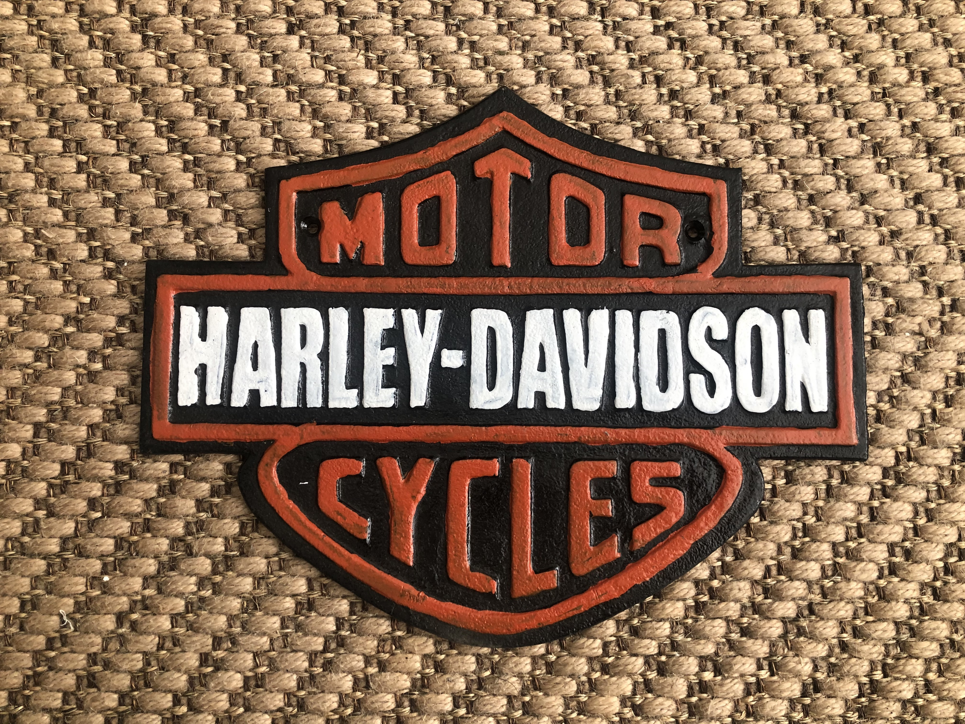 Lot 38 - Cast Iron Harley Davidson Motorcycle Wall Plaque