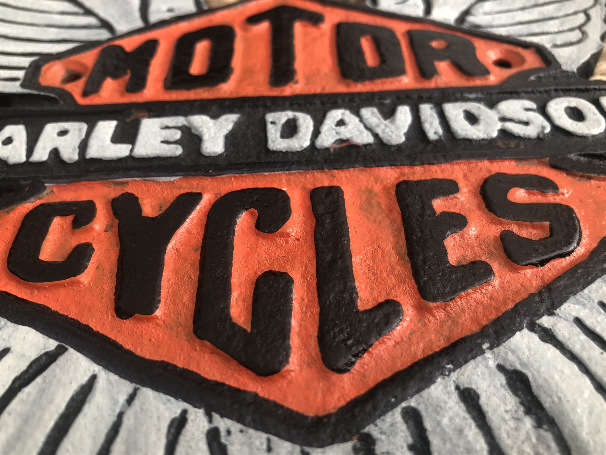 Lot 30 - Cast Iron Harley Davidson Motorcycles Tall Wing Wall Plaque