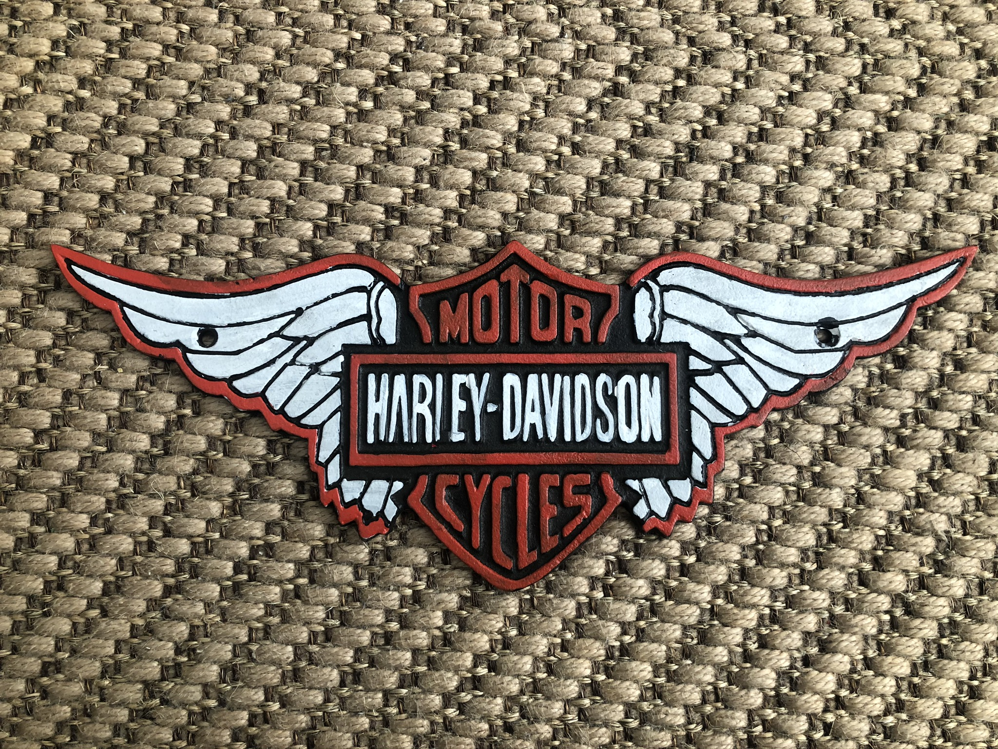 Lot 31 - Cast Iron Harley Davidson Motorcycles Large Wall Plaque