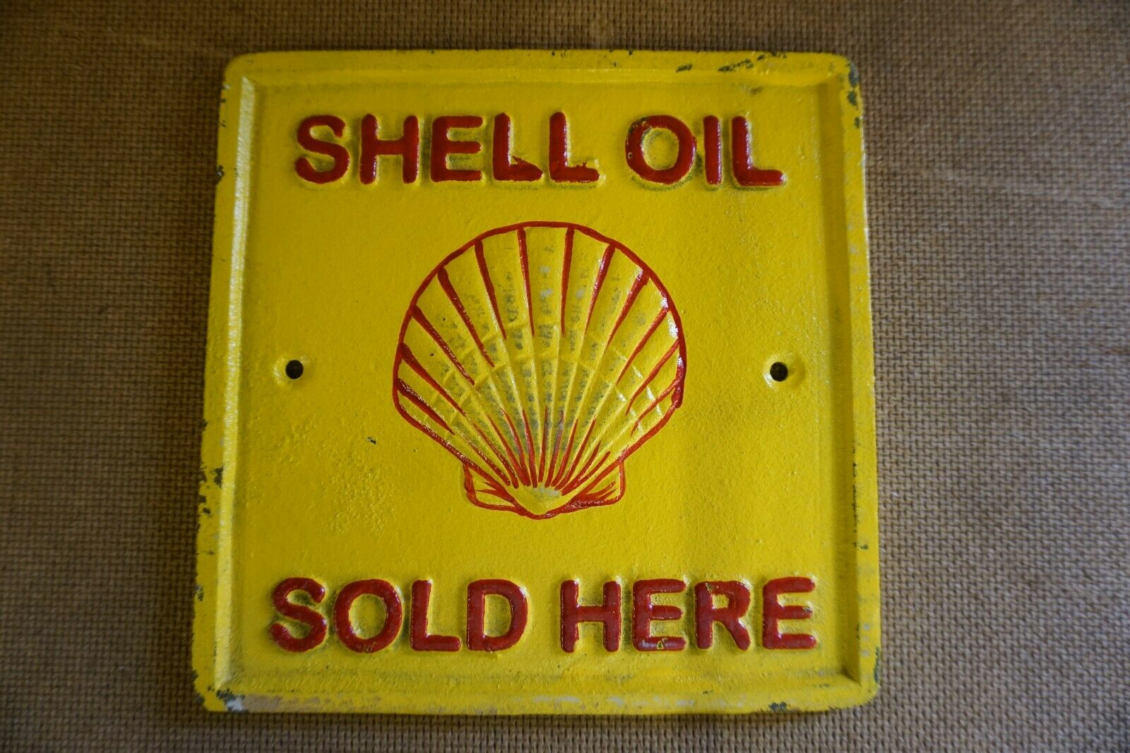 Lot 11 - Cast Iron 'Shell Oil Sold Here' Wall Plaque