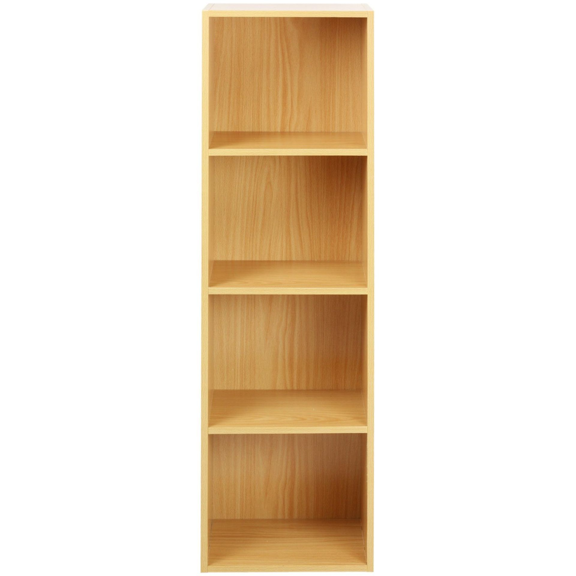 Lot 29 - (RU21) 4 Tier Wooden Shelf Beech Bookcase Shelving Storage Display Rack Compact, practical a...