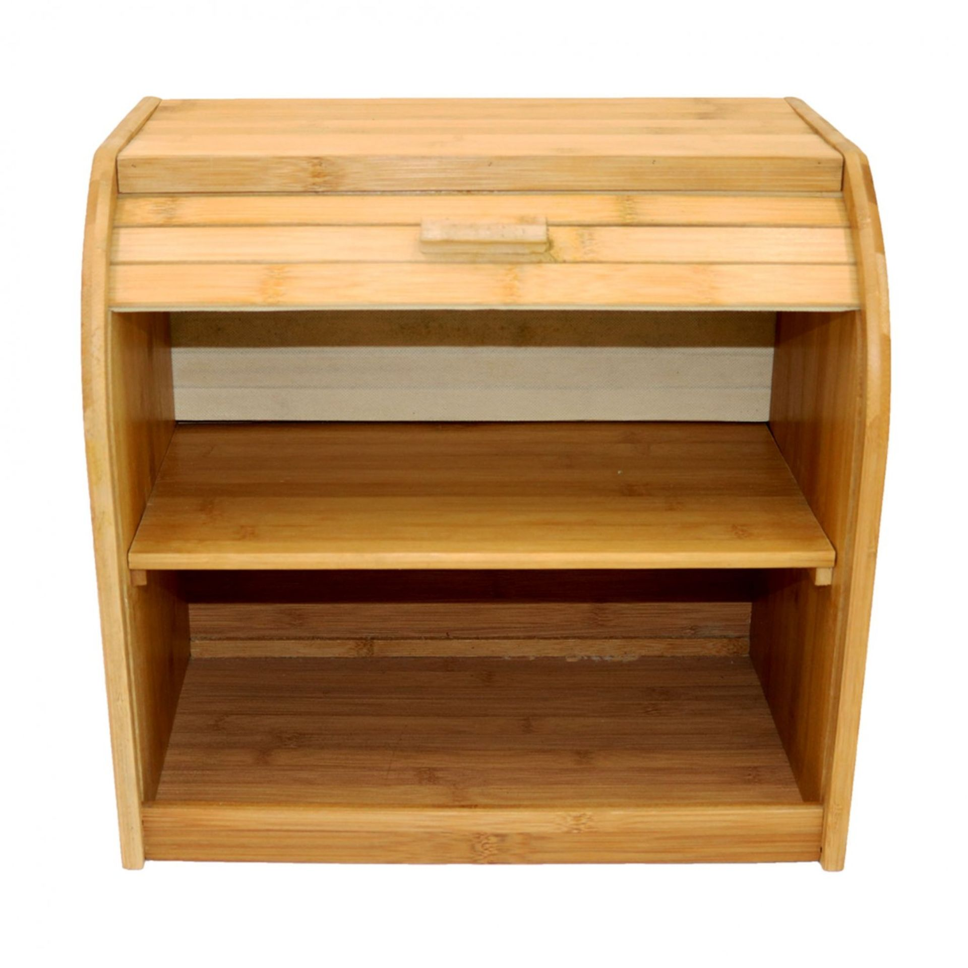 Lot 20 - (RU13) Double Layer Roll Top Bamboo Wooden Bread Bin Kitchen Storage The wooden bread bin ...