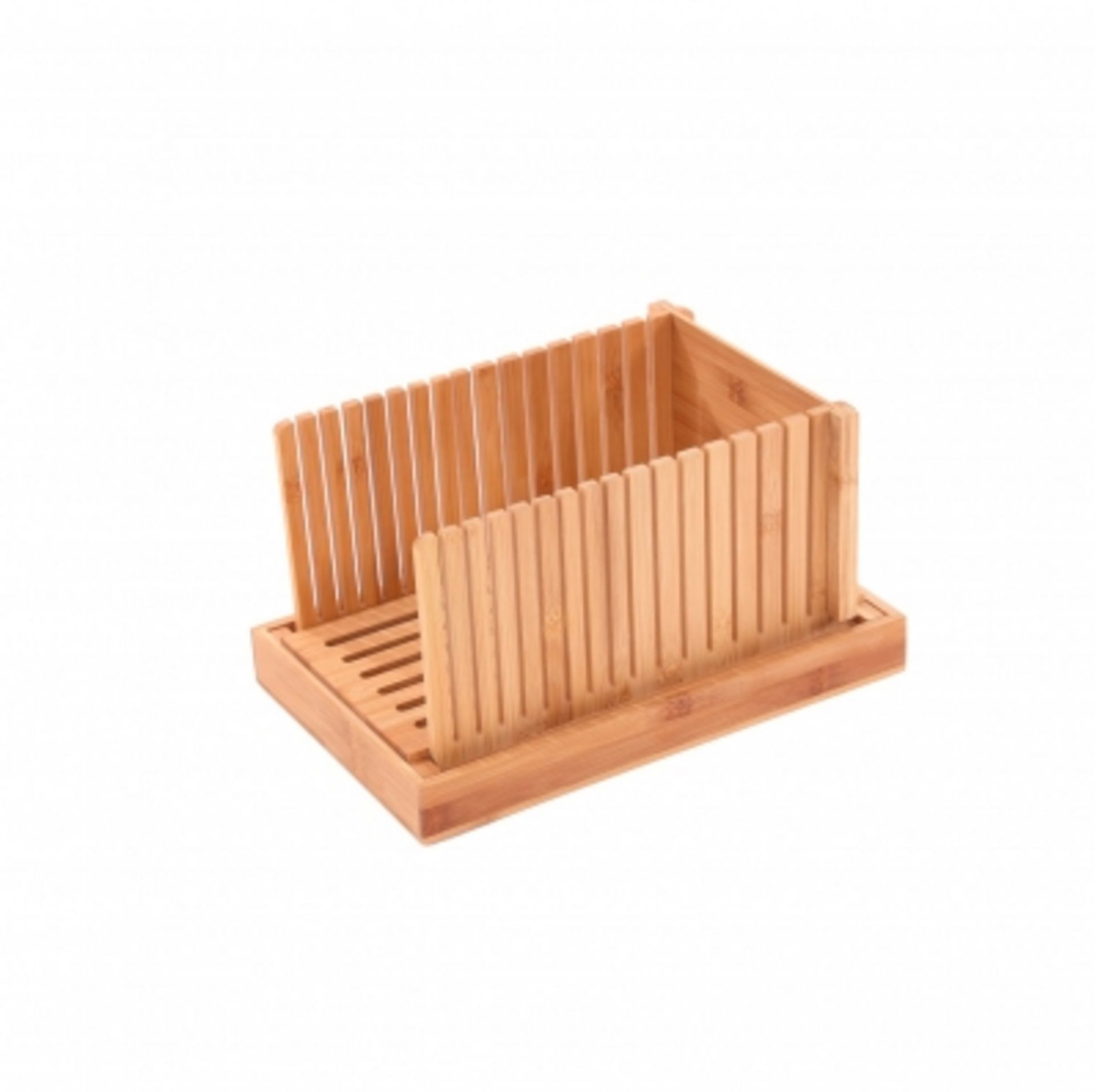 Lot 37 - (RU26) Bamboo Wooden Bread Slicer Chopping Cutting Board with Crumb Catcher The bamboo bread...