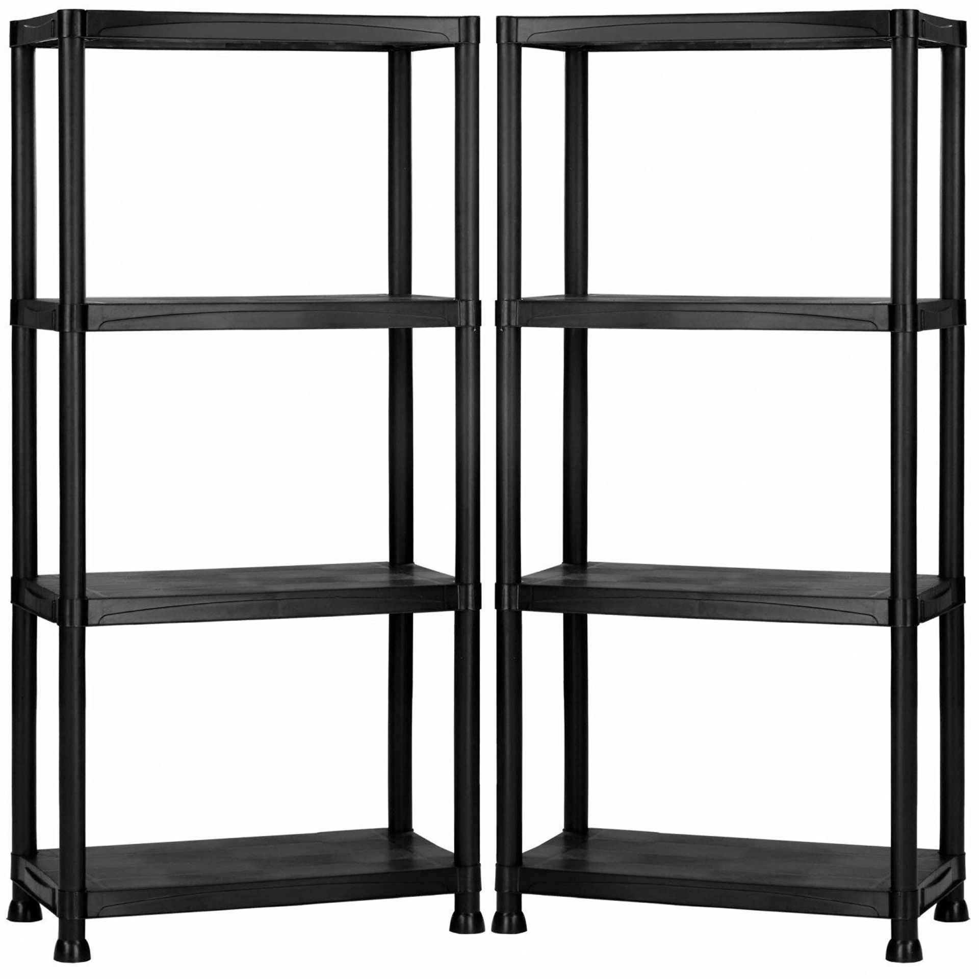 Lot 31 - (RU23) 4 Tier Black Plastic Heavy Duty Shelving Racking Storage Unit The black plastic racki...