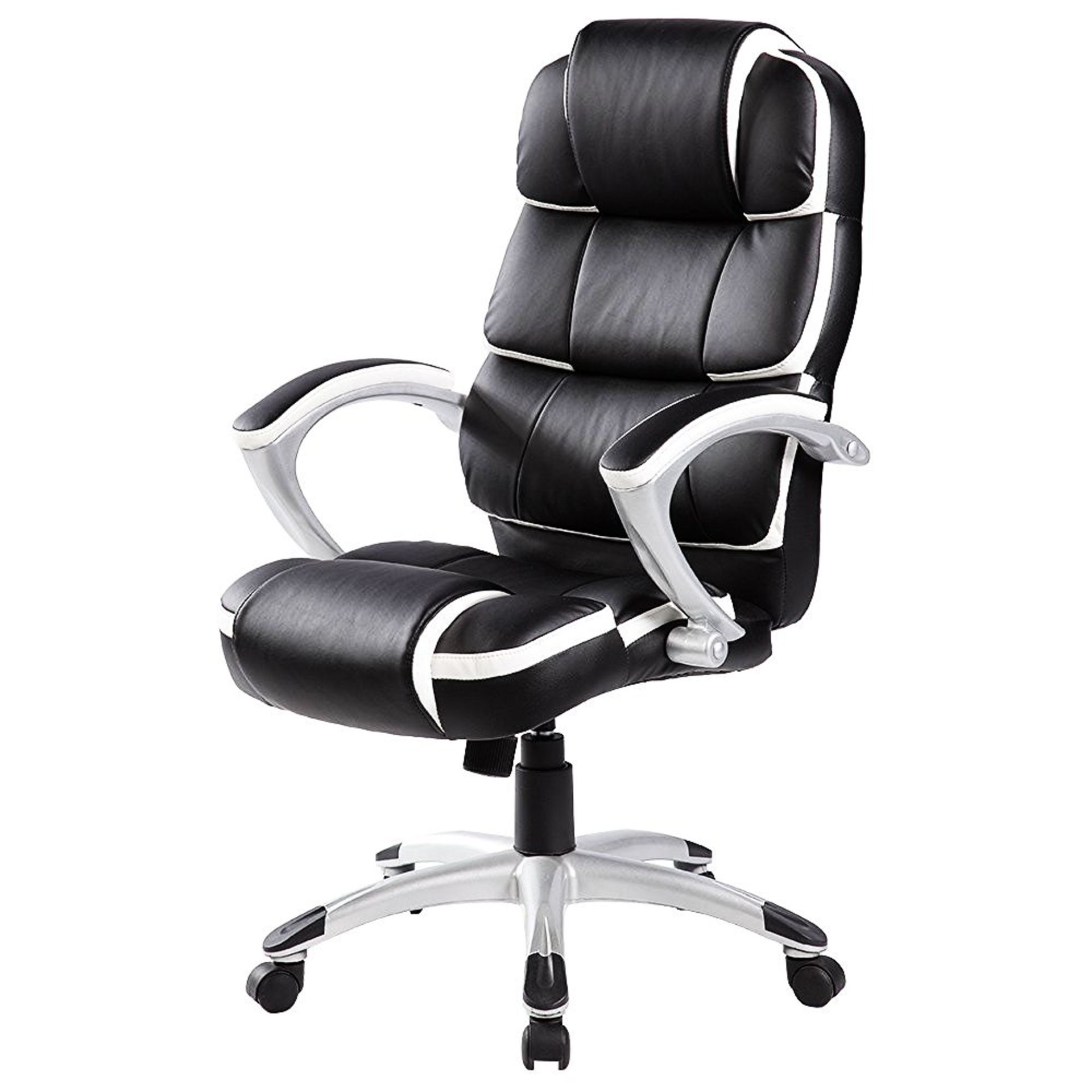 Lot 459 - (RU388) Luxury Designer Computer Office Chair - Black with White Accents Our renowned high q...