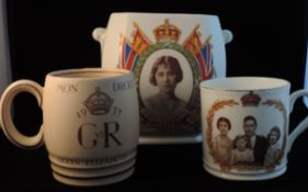 Commemoration Cup, Tankard And Tea Caddy - George Vi 1937