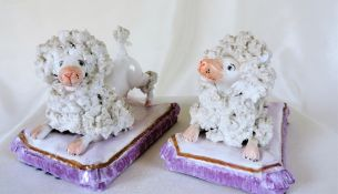 Antique Staffordshire Porcelain Poodles Seated On Cushions C.1850'S