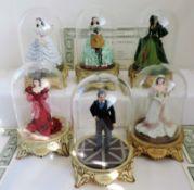 Set 6 Franklin Mint Porcelain Scarlet O'hara Figurines