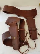 2 Brown Leather Single Gun Rig/Holsters