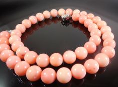 Necklace With Coral Beads With Silver Clasp