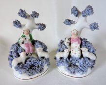 Antique Dudson Staffordshire Porcelain Figurines Shepherd & Shepherdess