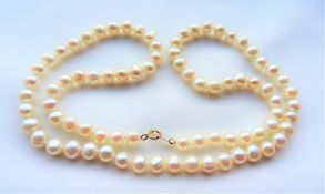 Vintage Akoya Cultured Pearl Necklace 10K Gold Clasp