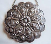 19Th Century Turkish Ottoman Silver Repousse Wedding Mirror