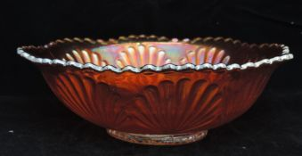Carnival Glass Dish - Flower And Leaf Design