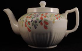 Art Deco English Arthur Woods Hand Painted Pottery Teapot With Stand And Water Jug