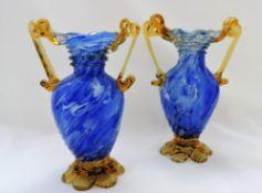 Pair Murano Glass Vases Venice Italy