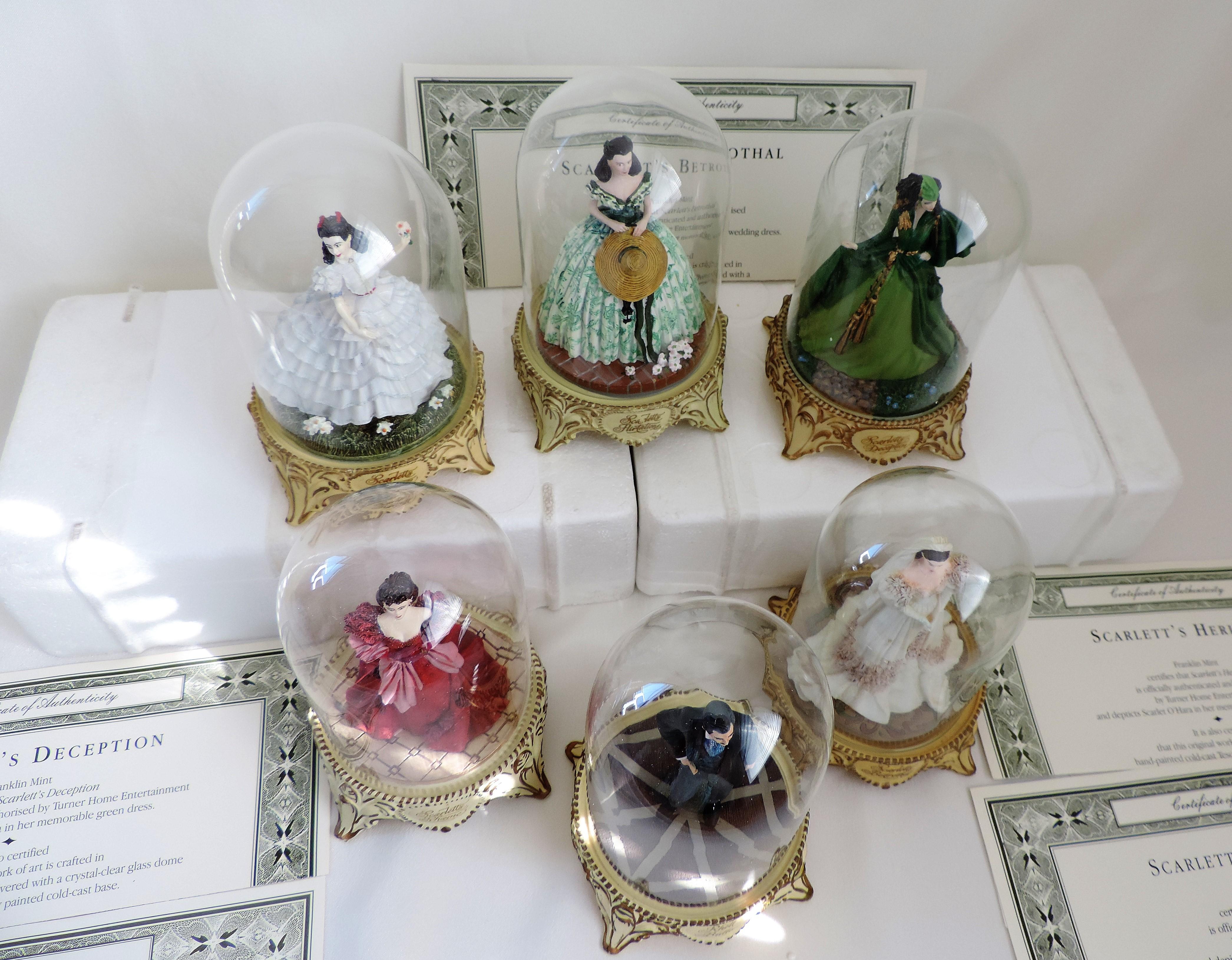 Lot 223 - Set 6 Franklin Mint Porcelain Scarlet O'hara Figurines