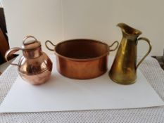 Vintage Copper And Brass Jugs