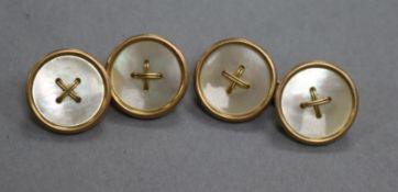 9Ct Gold And Mother Of Pearl Cufflinks