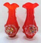 Pair Of Venetian Murano Art Glass Vases
