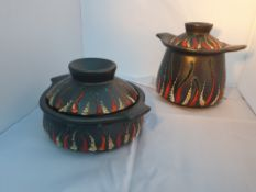 Pair Of Italian Ceramic Containers And Covers