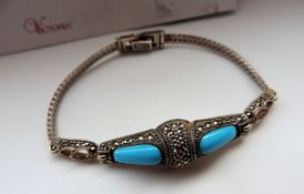Silver And Turquoise Bracelet 13.3 Grams