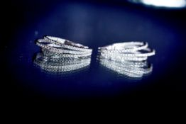 18Ct White Gold Triple Horseshoe Shaped Earrings, Featuring 2.20Cts Of Brilliant-Cut Diamonds.