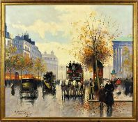 E Cortes Oil Painting Parisian Street Scene Post-Impressionism