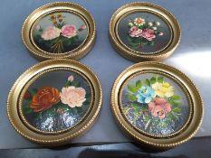 4 Bouquet Of Flower Miniature Oil Paintings