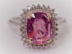 Gia Certified 3.99 Ct Reach Pink Untreated Sapphire & Diamonds Ring