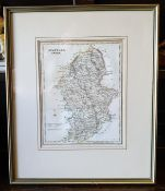 Antique Early 19th Century Map of Staffordshire Framed Archibold Fullerton Glasgow