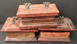 3 Carved wood Boxes