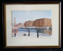 Vintage Art Watercolour Neil Wharton Liverpool Docks 'Ships Moored By Maritime Museum'