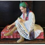 Antique Reg Johnson Studio Pottery Figure Albanian Dice Player