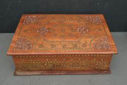 Vintage Carved Hardwood Indian Box Red Velvet Lined